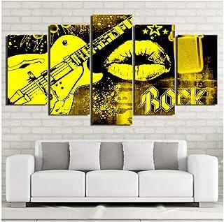 mhhfay Caballetes Lienzo Arte de la Pared Imágenes Sala de Estar Decoración para el hogar 5 Piezas Música Rock Guitarra Amarilla Labios Pintura Modular HD Impresiones Cartel Marco