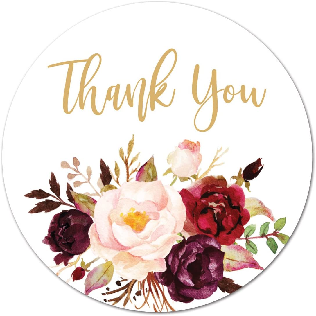 Thank You Stickers Labels Customized Stickers Birthday Party Wedding Black White Flower Garden Thank You Stickers