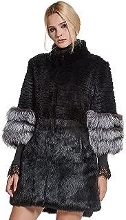 Fur Story Women's Genuine Rabbit Fur Coat with Fox Fur Cuffs Warm Winter Coat