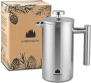 Groenenberg French Press av rostfritt stål | 1 liter (5 koppar) | Finns i 3 storlekar | Termisk kaffebryggare dubbelvägg i...