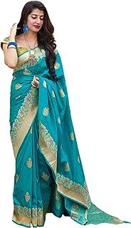 Light Blue Designer Indian Women Ethnic Traditional Style Soft Banarasi Silk Printed Sari Blouse 5772 a