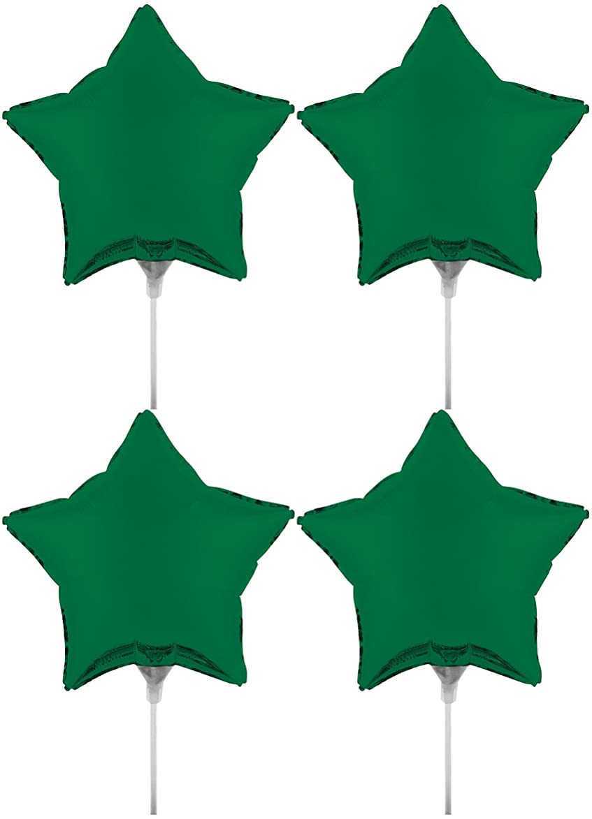 Set of 4 Foil Air Filled Balloons! Helium Free - Sticks and Joiner - Stars - Unique Themes - Party Balloons and Birthday Balloons Perfect for any Party Decoration! (4ct Emerald Green 18
