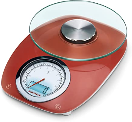 (Red) - Soehnle Vintage Style Kitchen Scale, Stainless Steel, Red