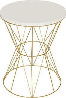 Kate and Laurel Mendel Round Accent Table with Cage Metal Frame, White and Gold