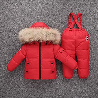 Down Jacket Toddler Winter Coats for Kids Children's Suit Thick Fluffy Fur Collar Windproof Tightening Cuffs Detachable Fu...