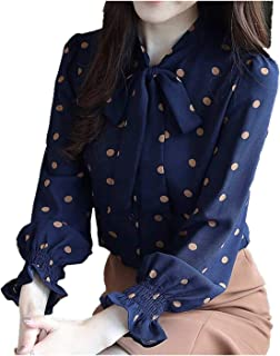 YXHM A Ladies Tops Polka dot Shirt Chiffon Simple Feminine Bow-tie Office Commuting Bow-tie Blouse Ruffle Blouse (Color : Navy, Size : L)