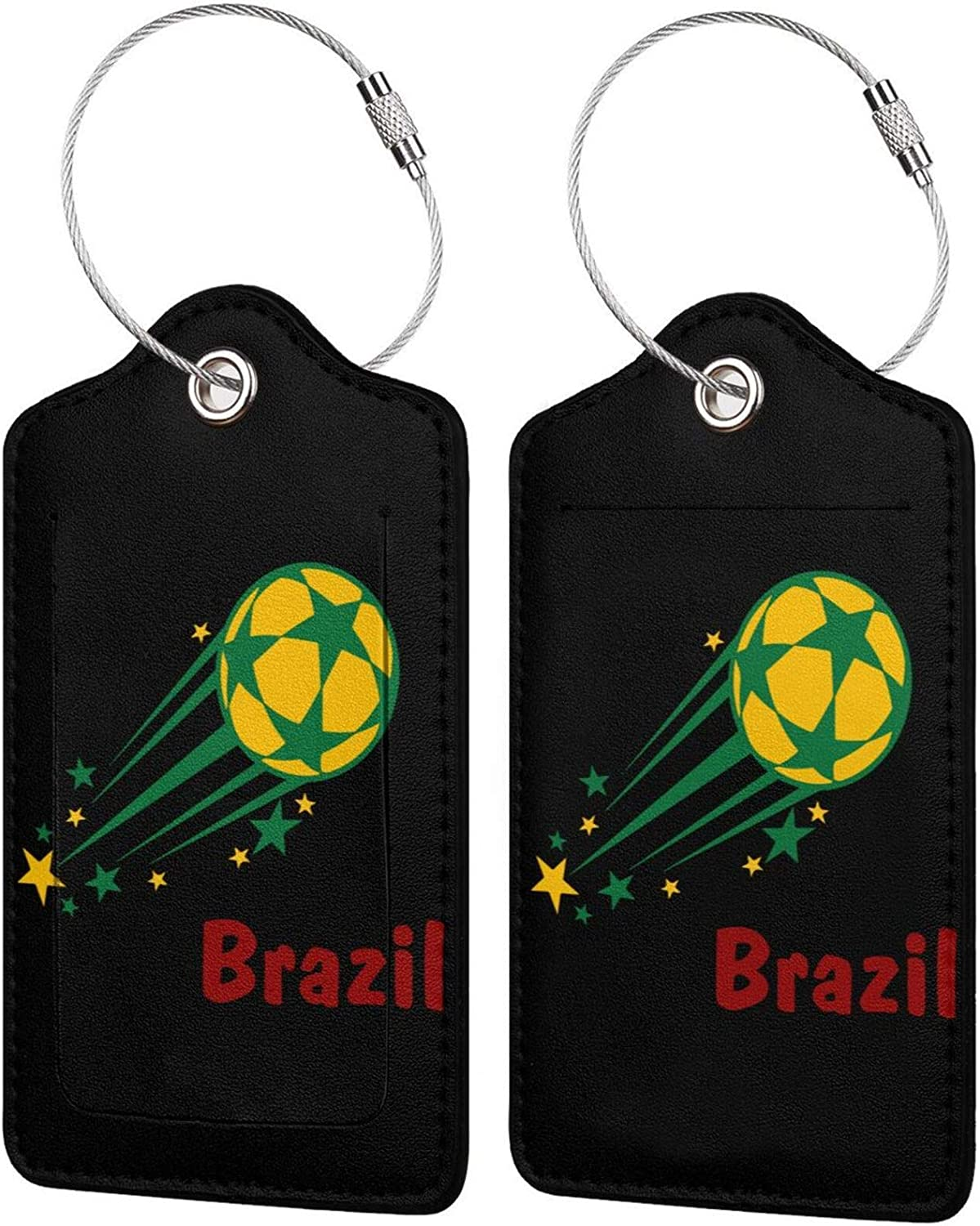 Fashionable Flying Brazil Soccer PU Leather Rectangl tag Luggage Bag Cash special price Baggage