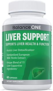 Liver Support by Balance ONE - 11 Antioxidant Ingredients to Promote Liver Health - Milk Thistle, NAC, Molybdenum, Dandelion, Artichoke - Vegan, Non-GMO - 30 Day Supply