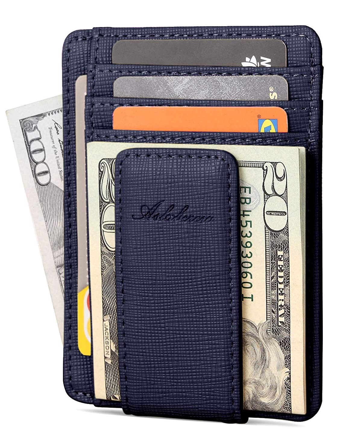 AslabCrew Minimalist Genuine Leather Magnetic Front Pocket Money Clip Wallet RFID Blocking Card Wallets