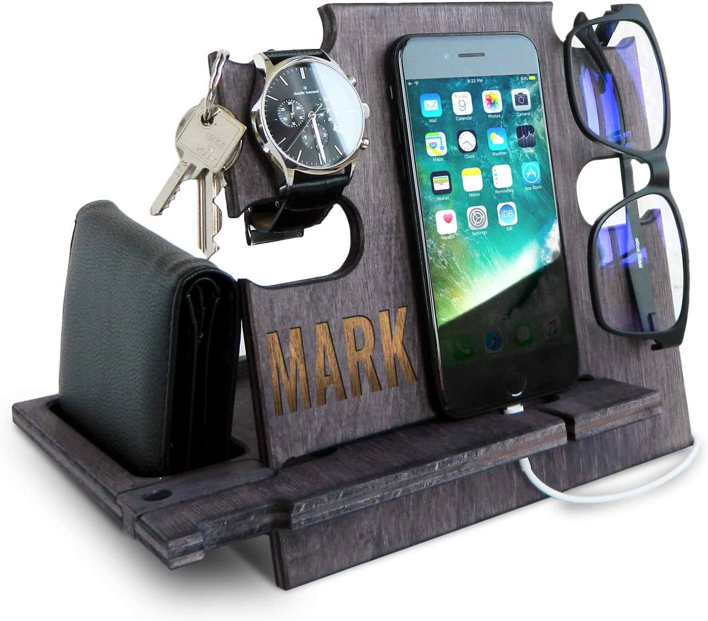 Personalized Gifts for Men, Cell Phone Stand, Wooden Desk Organizer, Phone Dock - Nightstand Charging Station, Phone Holder, Gift Ideas for Christmas, Birthday, Anniversary (Slate Gray)