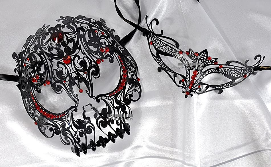 Lovers Collection Men Women Couple Red R8 Combo Cut Venetian Masquerade Mask Event Party Ball Mardi Gars