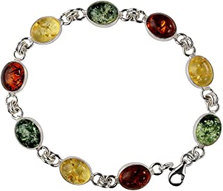 Sterling Silver Multicolored Baltic Amber Bracelet Ivana