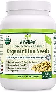 Herbal Secrets USDA Certified Organic Flax seeds 2 Lbs (14 G Per Serving) Raw Vegan Gluten free