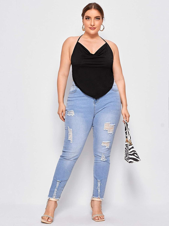 SheIn Women's Plus Cowl Neck Tie Backless Halter Asymmetrical Bandana Cami Tops