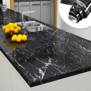 Yenhome 24 x 393 inch Jazz Black Faux Marble Countertops Peel and Stick Removable Wallpaper for Kitchen Backsplash Cabinets Self Adhesive Shelf and Drawer Liner Bathroom Wall Decor Wallpaper