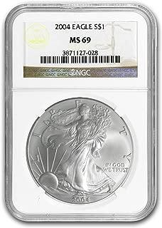 2004 Silver American Eagle MS-69 NGC 1 OZ MS-69 NGC