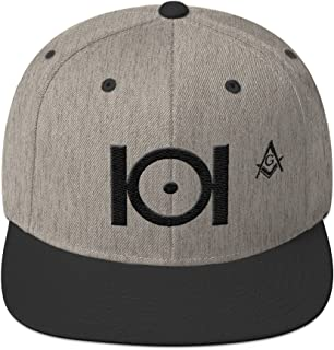 Masonic Snapback Hat 3D Puff Embroidery Black Thread