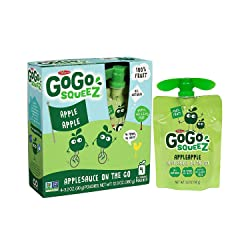 GoGo squeeZ Applesauce on the Go, Apple Apple, 3.2 Ounce (4 Pouches), Gluten Free, Vegan Friendly, H