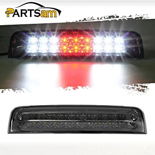 Partsam Smoked Third 3RD Brake Light Replacement for Dodge Ram 2009-2017 1500 2500 3500 Red/White Dual-Row LED High Mount 3rd Tail Rear Brake Light Cargo Lamp