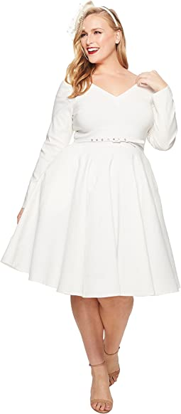 Unique Vintage - Plus Size Long Sleeve Maude Swing Dress