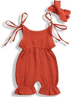 GSHOOTS Newborn Baby Girls' Sleeveless Romper Ruffle Jumpsuit Strap Onesies Linen Bodysuit