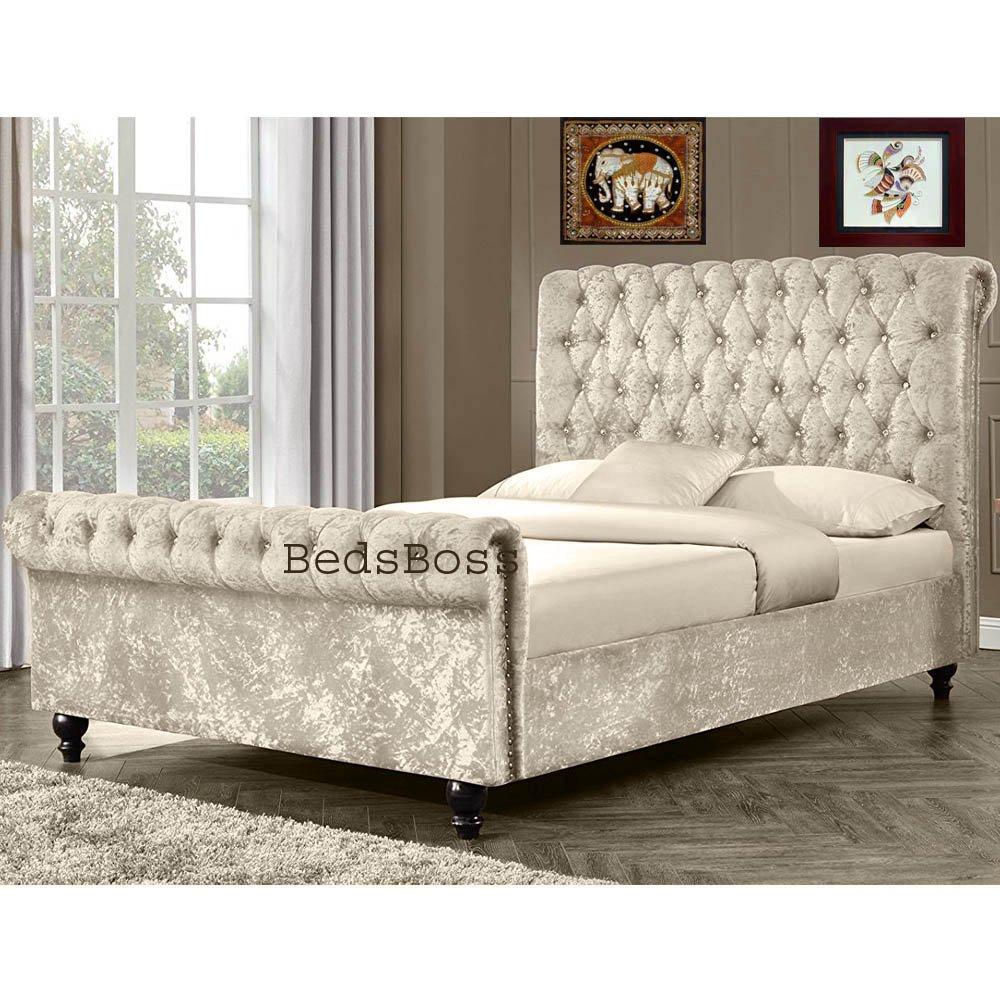 - BedsBoss New Stunning Crushed Velvet Fabric Luxurious Quality