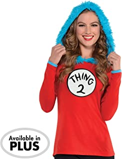 Dr. Seuss Adult Thing 1 & Thing 2 Hooded Long-Sleeve Shirt for Adults, Includes 2 Patches