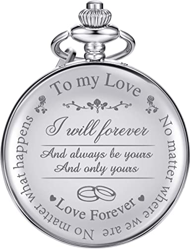 """Pangda Pocket Watch to Husband Wife Boyfriend Girlfriend, Engraved""""to My Love"""" Pocket Watch - No Matter Where We are,..."""