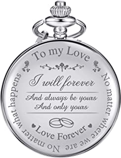 """Pangda Pocket Watch to Husband Wife Boyfriend Girlfriend Gift, Engraved""""to My Love"""" Pocket Watch - No Matter Where We are,..."""