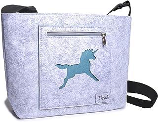 Umhängetasche Damen Kinderhandtasche Filz Schultertasche Mädchen Dirndl Trachtentasche Filztasche Stoff Trachtenmotiv Tier...