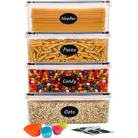 Aitsite Boîte Hermétique de Conservation Alimentaire 4Pcs Set 2.3L, Contenent Hermétique Plastique pour Spaghetti, Pasta, Nouilles, Boîte de Rangement Cuisine sans BPA avec Couvercle Noir