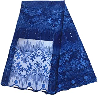 African Lace Fabric,Lace Net Tulle Tissue French Lace Fabric African Fabric with Stones (Color : ROYAL BLUE, Size : 5YARDS)