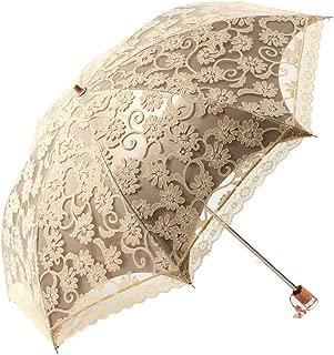 D-WISH Ladies Umbrella Lace Parasol Folding Umbrella Sun Shade Anti-uv Princess Lace Twice Folding Umbrella Ultraviolet-Proof Umbrella/Sun Uv Protection Umbrellas (Yellow)