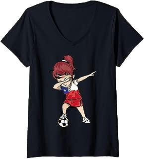 Womens Dabbing Soccer Girl Chile Jersey Art - Chilean Football V-Neck T-Shirt
