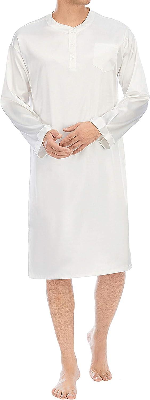 Men's Silk Long Sleeve Mid-Length Nightshirts Henley Nightgown Sleepwear Dress Lounge Pajamas Shirt L-XXXL