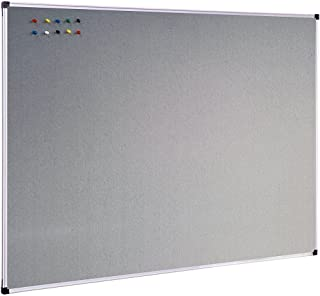 XBoard Large Grey Fabric Bulletin Board, 48 x 36 inch, Wall Mounted Fabric Message Notice Board Sliver Aluminum Framed for Home Office School