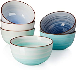 Sweese 127.003 Porcelain Bowls - 20 Ounce for Cereal, Soup, Rice, Salad - Set of 6, Cool Assorted Colors