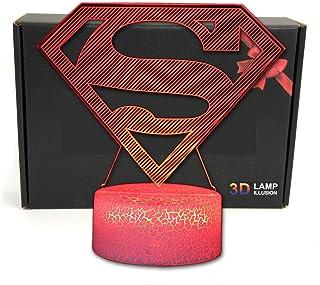 TriProC Lámpara de Mesa con luz USB, 7 Colores, luz de Noche, 7 Colores, ilusión óptica, superhéroe LED, con Cable de alimentación USB Logo de Superman