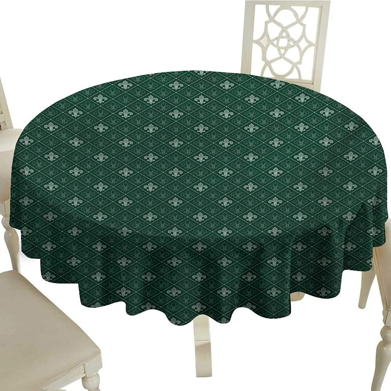 Cranekey Banquet Round Tablecloth 50 Inch Fleur De Lis,Ancient Baroque Pattern Medieval French Motifs Royal Ornate Classic,Hunter and Sage Green Great for,Holiday Dinner & More beceqbwoywtrr691