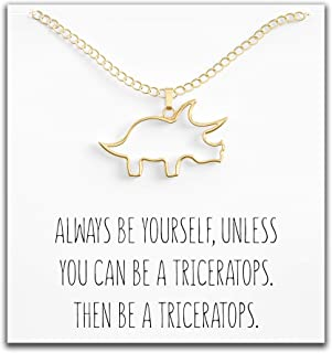 Dinosaur Triceratops Necklace - Cute Pendant Gift for Women or Kids - Sweet & Funny Message Card