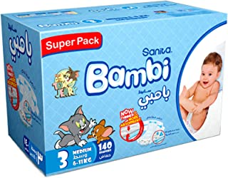 Sanita Bambi Baby Diapers Super Pack, Size 3, Medium, 6-11 kg, 140 Count