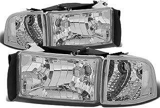 For Dodge Ram 2nd Gen BR/BE 4Pcs Chrome Housing Clear Corner Headlight+Corner Light/Lamp