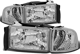 For Dodge Ram 2nd Gen BR/BE 4Pcs Chrome Housing Clear Corner Headlight+Corner Light/Lamp