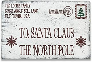 Christmas Santa Claus North Pole Personalized Wood Wall Decor