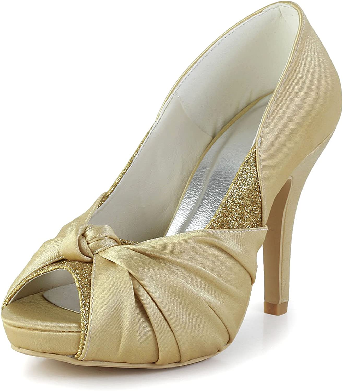 Minishion GYAYL435 Womens Stiletto High Heel Satin Evening Party shoes Bridal Wedding Glitter Sandals