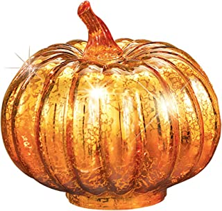 Collections Etc. Light-Up Faux Mercury Glass Pumpkin with Orange Foil and 6 LED Flickering Lights