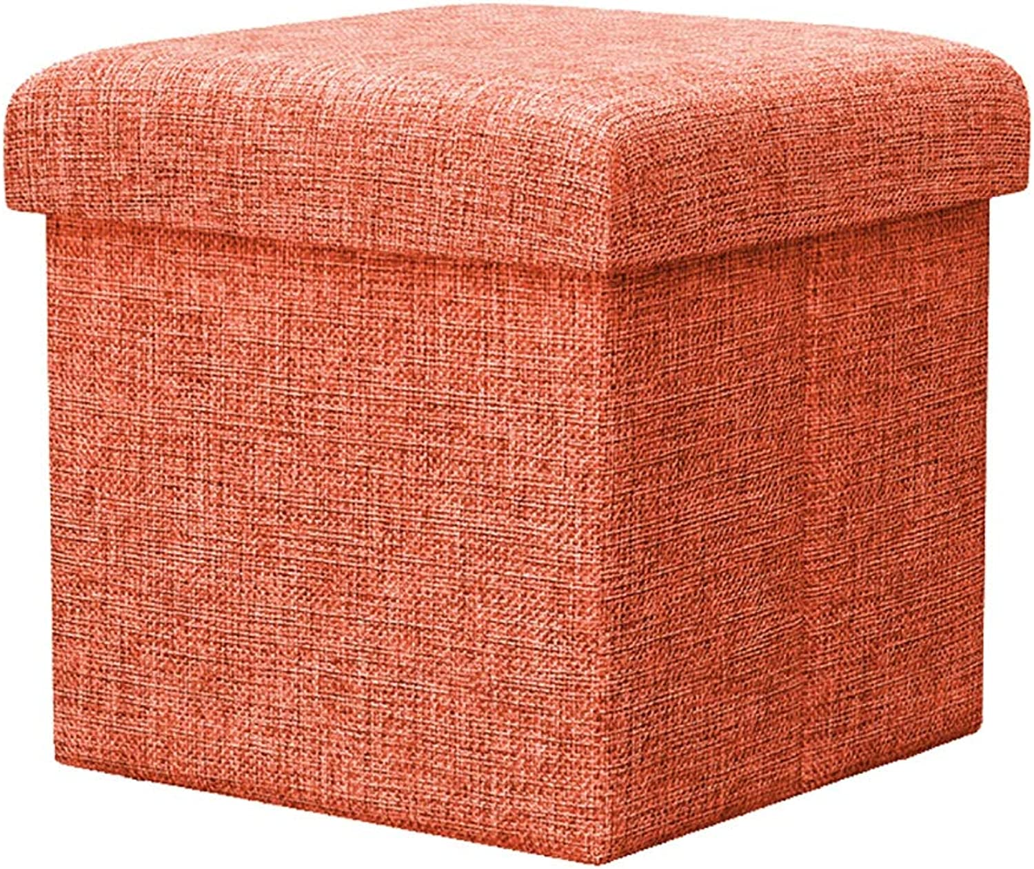 Square Footstool shoes Bench Storage Capacity 24L Stool Breathable wear-Resistant Easy to Clean Load Bearing Strong 30  30  30cm (color   orange)