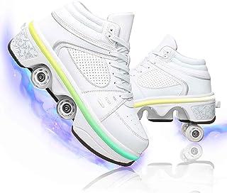 Hmlopx Barn automatiska promenadrullskor LED upplysning dubbelrad deformation osynliga remskivskor skor skor män och kvinn...