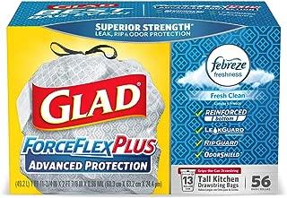 Glad Tall Kitchen Drawstring Trash Bags - ForceFlexPlus Advanced Protection 13 Gallon Grey Trash Bag, Febreze Fresh Clean - 56 Count