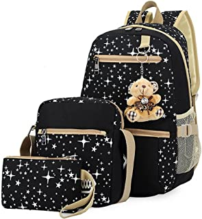 Mia 3 Pcs Canvas Backpack Set Galaxy Star Patterned Bookbag Laptop School Backpack for Girls Black